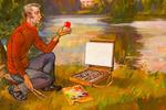 """""""Автопортрет на фоне Павловского парка с тремя грациями."""""""