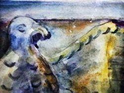 """"""" Средняя Азия. Архитектурная детал (саркофаг?) с фигурой птицы """""""