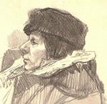 """"""" Сидящая дама в пальто и шапке """""""