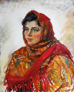 """"""" Портрет девушки в цветастом платке """""""