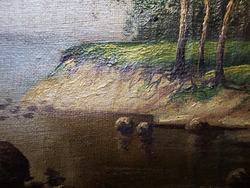 """""""Пейзаж с тремя деревьями на берегу"""""""