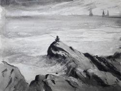 """Одинокий рыболов. Каспийское море"""""""
