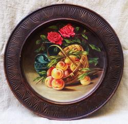 """Блюдо деревянное """"Цветы и фрукты"""""""