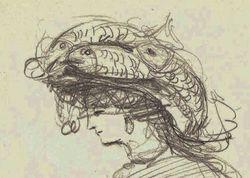 """""""Девушка в шляпке с рыбами"""""""