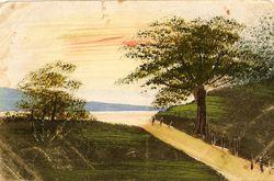 """""""Летний пейзаж с деревом и водоёмом"""""""