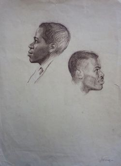 Два этюда.Головы африканцев