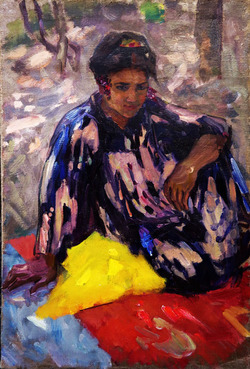 """""""Девушка, сидящая на желтом. Узбекистан"""""""