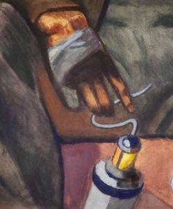 """""""Портрет художника Труфанова М.П. у своей картины   """"Шахтер"""""""