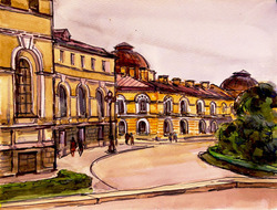 """Коллекция leningradart.com, выставка """"Любимый город"""" Рисунок, акварель . 1930-1990 годы."""