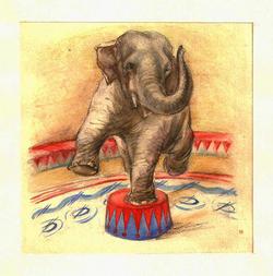 """Коллекция leningradart.com, выставка ШОРР Т.Я. Книжка-открытка """"Звери в цирке"""""""