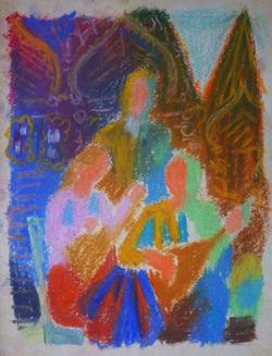 """Коллекция leningradart.com, выставка """"ОБОЛЕНСКАЯ Т.Б. """"Тема искусства в творчестве. Графика. 1950-1980 г.г."""""""