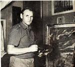 В.Н. Зачиняев в своей мастерской  на Песочной набережной 1970-е г.г..