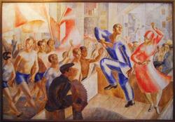 """Картина """"Первомайская демонстрация"""" выполнена в технике холст, масло. Размер картины- 252 х 378 см."""