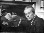 """П.П. Белоусов у картины """" Памяти учителя"""". 1980-е годы."""
