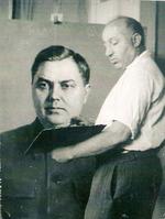 Х.М.Б. Белявский за работой над портретом А.А. Жданова. 1950-е годы.