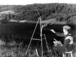 Д.П. Бучкин на этюдах. Игналина. 1950-е годы.