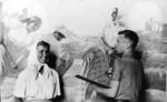 """Д.П. Бучкин работает над дипломной картиной """"Сбор урожая"""". 1951 год."""
