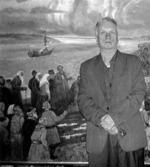 """Д.П. Бучкин у картины """" Крестный ход в Старой Ладоге """". 2005 год."""
